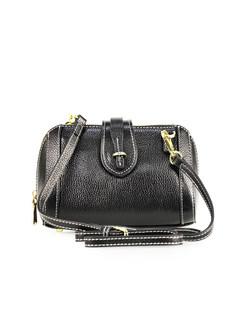 Black Cowhide Zippered Pillow Shape Crossbody Bag