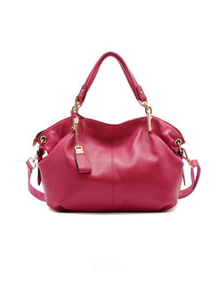 Fashionable Red Cowhide Top Handle Bag With Zip-up