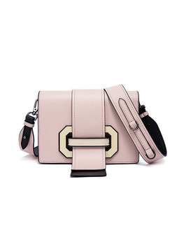 Color-block Cowhide Crossbody Bag