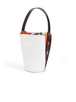 Brief White Stylish Cowhide Top Handle & Bucket Bag