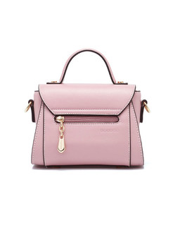 Brief Pink Clasp Lock Top Handle & Crossbody Bag