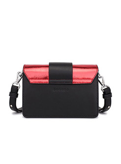 Chic Color-block Clasp Lock Crossbody Bag