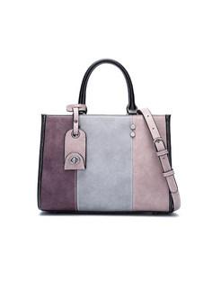Color-block Frosted Zipper Top Handle & Crossbody Bag