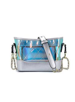 Stylish Color-block Zipper Chain Crossbody Bag