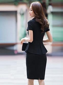 Double-basted Lapel Falbala Bodycon Dress