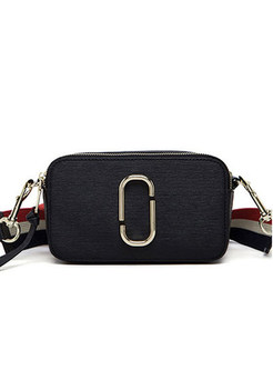 Black Zippered Cowhide Crossbody Bag