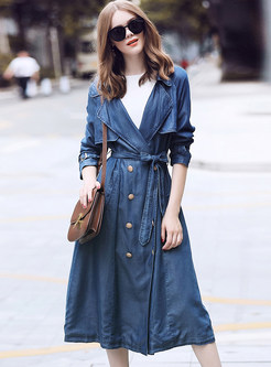 Navy Notched Double-breasted Tied Denim Trench Coat