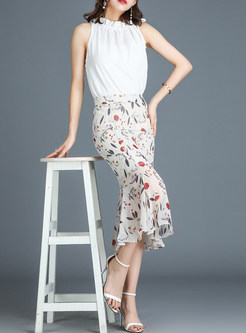 Trendy Floral Sheath Sweet Mermaid Skirt