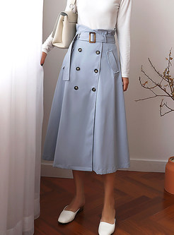 Pure Color Belted Double-breasted Skirt