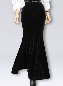 Solid Color Velvet Mermaid Flouncing Maxi Skirt