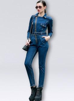 Stylish Denim Lapel High Waist Zipper Slim Jumpsuit
