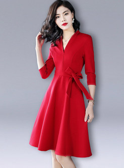 Trendy Pure Color Bowknot A Line Dress
