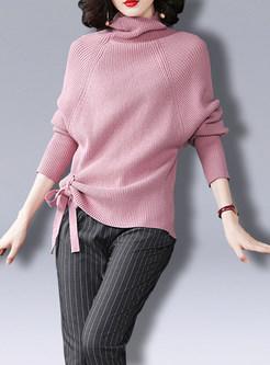 Pure Color Bat Sleeve Tied Slit Slim Sweater