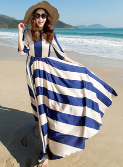 Brief Striped Three Quarters Sleeve Patch Pleated Maxi Dress