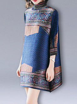 Three Quarters Sleeve Turtle Neck Loose Dress