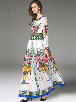 Ethnic Floral Print Slim Big Hem Maxi Dress