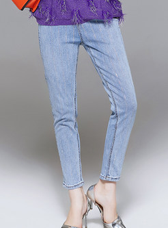 Autumn Light Blue Easy-matching Pencil Jeans