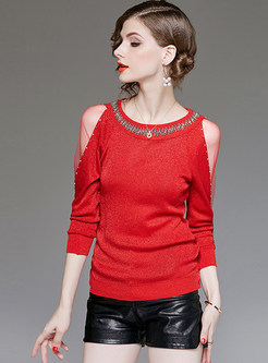 O-neck Beaded Perspective Mesh Bottoming Sweater