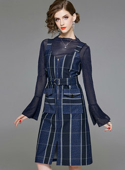 Brief Pure Color Flare Sleeve Top & Belted Strap Pockets Dress