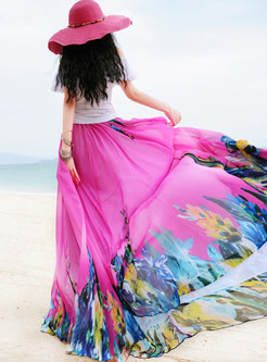 Location Print Big Hem A Line Maxi Skirt