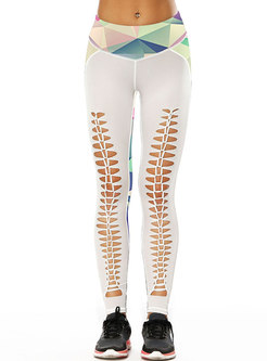 Stereoscopic Print Hollow Out Tight Yoga Bottoms