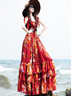 Fashion Chiffon Sleeveless Sling Print Maxi Dress