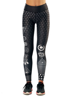 Ethnic Print High Waist Elastic Sport Pants
