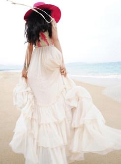 Bohemian Plus Size Print Sling Chiffon Dress