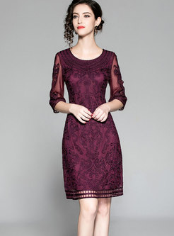 Elegant Deep Purple Gathered Waist Lace Patchwork Bodycon Dress