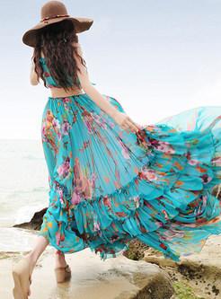 V-neck Sleeveless Print Big Hem Maxi Dress