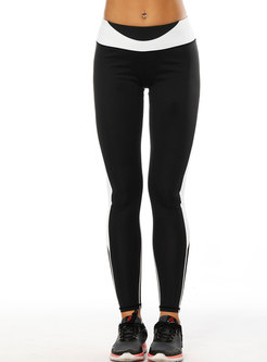 Color-blocked High Waist Breathable Yoga Pants