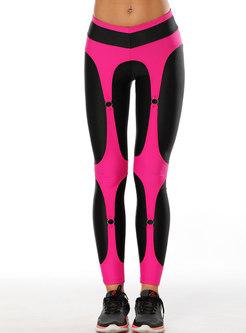 Color-blocked Tight Elastic Yoga Pants