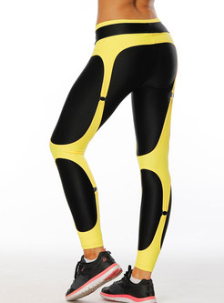 Chic Color-blocked High Waist Tight Fitness Pants