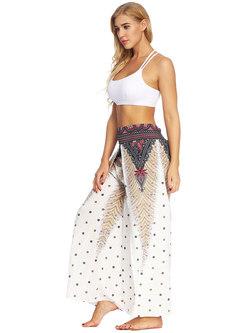 Casual Print High Waist Wide Leg Fitness Pants