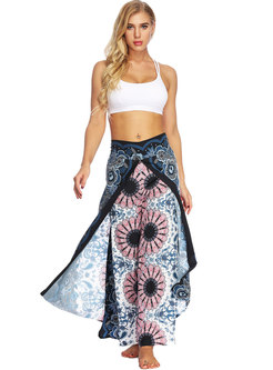 Bohemia Print High Waist Slit Loose Yoga Pants
