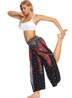 Ethnic Print Elastic Waist Wide Leg Yoga Pants