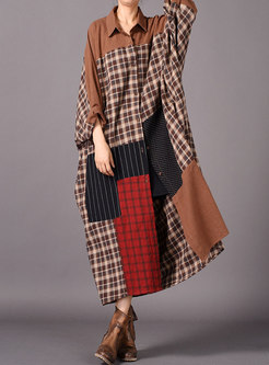 Stylish Grid Splicing Lapel Single-breasted Loose Coat