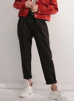 Trendy Solid Color Pocket Pencil Pants With Belt