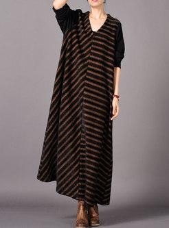 Brief Striped Splicing V-neck Loose Dress