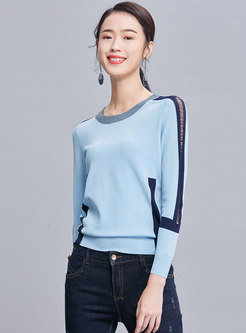 Color-blocked O-neck Slim Knitted Sweater