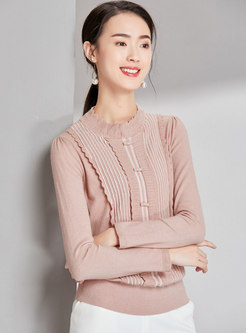 Stylish Color-blocked Stand Collar Bowknot Slim Sweater