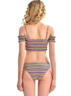Stylish Striped Bandeau Falbala Bikini