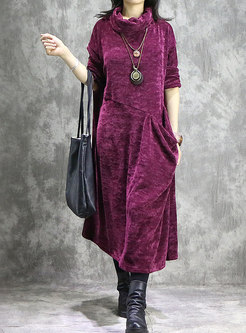 Vintage Splicing High Neck Loose Maxi Dress