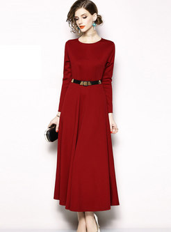 Fashion Crew-neck Long Sleeve High Waist Maxi Dress
