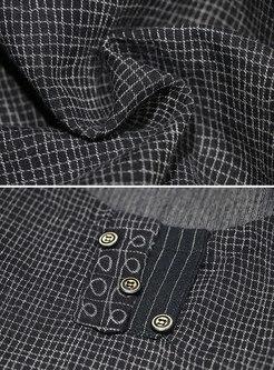 Retro Loose Grid O-neck Hem Maxi Dress