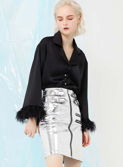Black Turn Down Collar Long Sleeve Ostrich Feather Coat