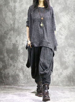 Casual Asymmetric Knitted Top & Elastic Waist Loose Harem Pants