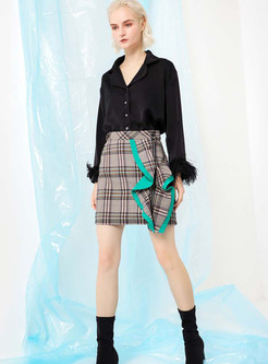 Fashion Easy-matching Plaid Wave Selvedge Mini Skirt