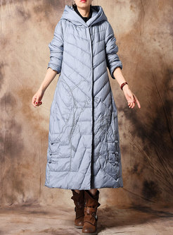 Vintage Pure Color Embroidered Hooded Down Coat