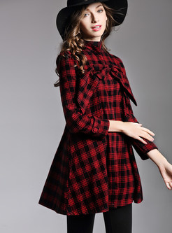 Trendy Bowknot Long Sleeve Big Hem Plaid Blouse